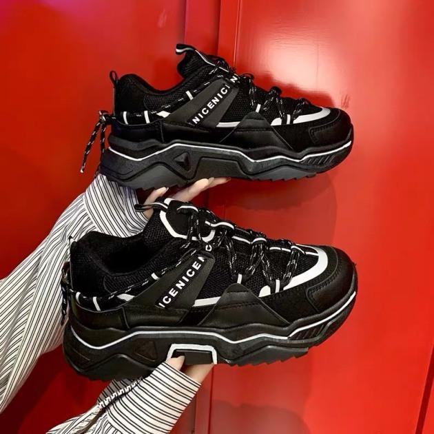 (2 MÀU) giày nữ thể thao cao cấp CDE phản quang 2 màu Trắng Đen đẹp chất kiểu dáng Ulzang giá rẻ