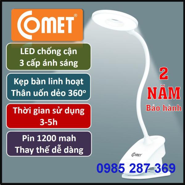 Đèn học kẹp bàn Sạc pin tích điện chống cận COMET, 3W, 3 cấp ánh sáng, thời gian hoạt động 3-5h (CT174)