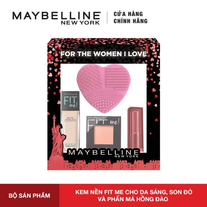 Bộ sản phẩm trang điểm nền Maybelline New York Fit Me & Son lì mịn môi Powder Matte [Tặng Miếng Rửa Cọ] tốt nhất