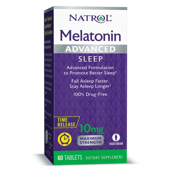 Viên uống Natrol Melatonin Advanced Maximum Strength Sleep 10mg 60 viên hỗ trợ cải thiện giấc ngủ Natrol Melatonin 10mg không mùi cao cấp