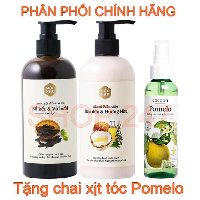 Combo Dầu Gội và Dầu Xả Vỏ bưởi Bồ kết cô đặc Mộc Nhu Tặng chai xịt dưỡng tóc Pomelo nhập khẩu