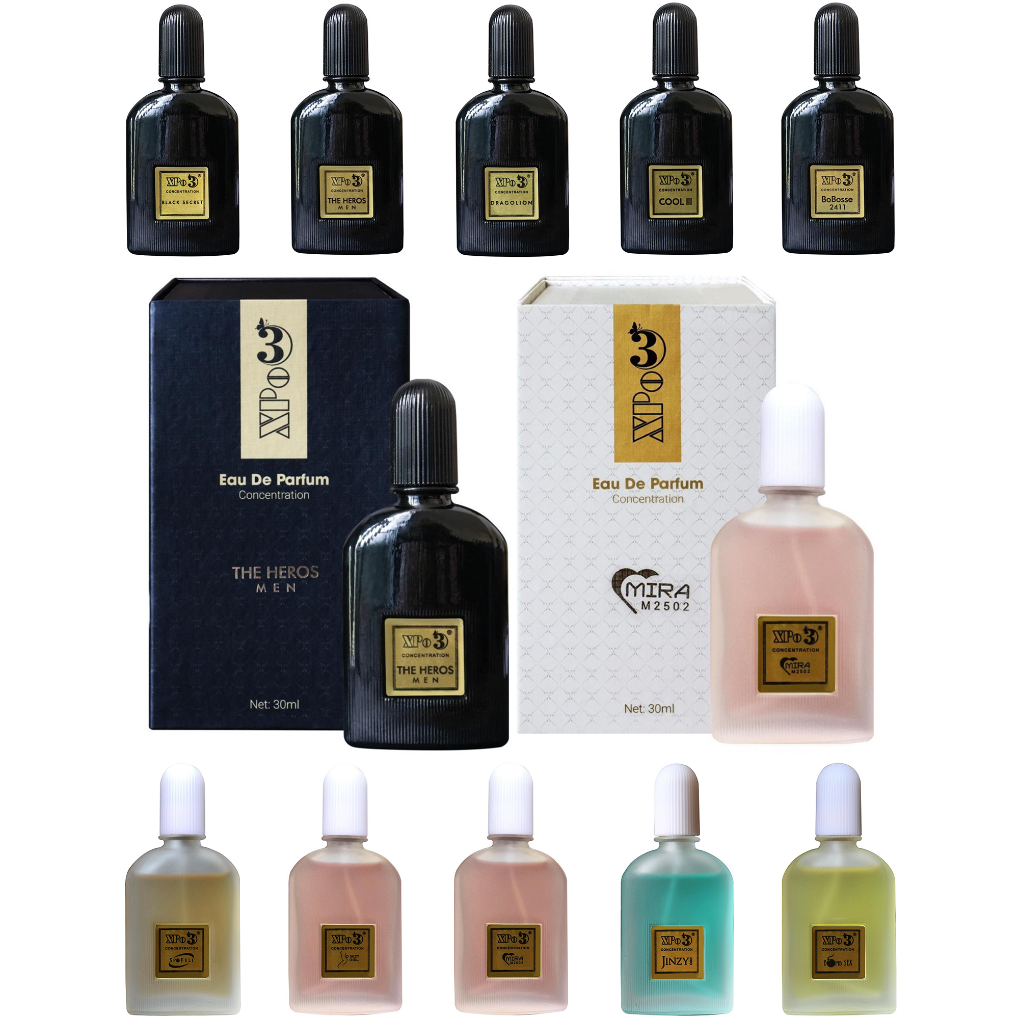 10 Set Nước hoa Nam & Nữ XBeauty XPo3 30ml. Tinh dầu thơm nước hoa cô đặc thơm lâu có 10 mùi tùy chọn