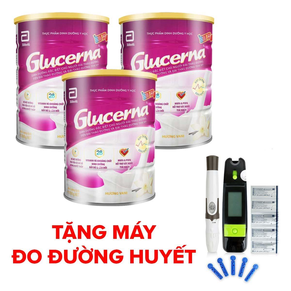 Bộ 3 lon sữa bột Glucerna Hương Vani 850g Tặng Máy đo đường huyết