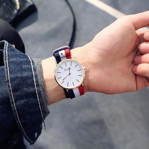 Đồng hồ Thời Trang Nam Nữ Geneva mặt tròn dây dù 3 sọc cá tính