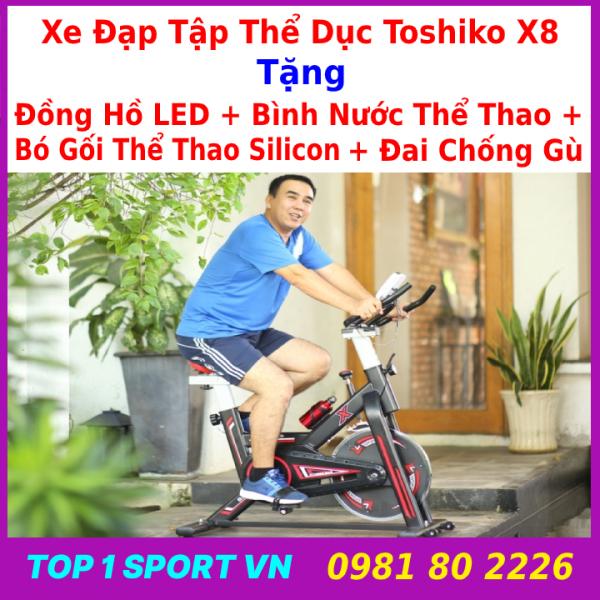 Xe đạp thể thao Toshiko X8 xe đạp thể thao Toshiko X8 xe đạp thể thao Toshiko X8 tặng bình nước + đồng hồ + bó gối silicon + đai chống gù - bảo hành 36 tháng