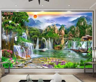 Tranh dán tường 3D Phòng Khách Sơn Thủy Hữu Tình,354( Đã tích hợp sẵn keo) thumbnail