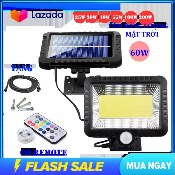 (Bảo Hành 12 tháng) Đèn năng lượng mặt trời 60W , Chống nước , dùng trong cả mùa mưa , đèn năng lượng mặt trời có điều khiển( remote)
