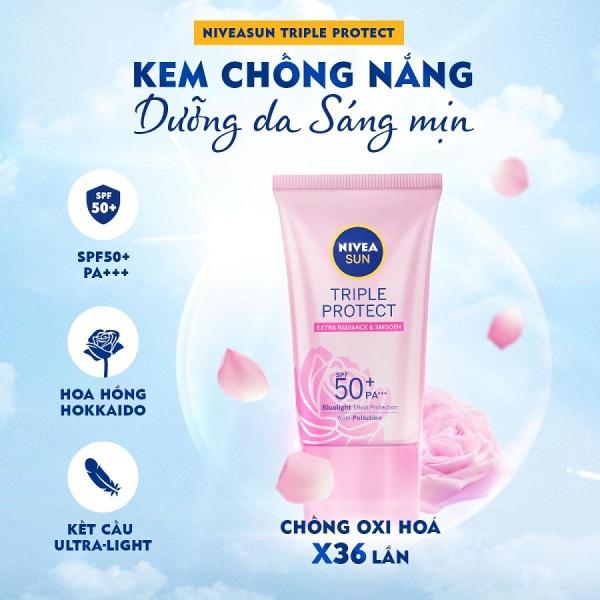 Kem chống nắng dưỡng da sáng mịn NIVEASUN Triple Protect Extra Radiance & Smooth SPF50+ PA+++ 15ml