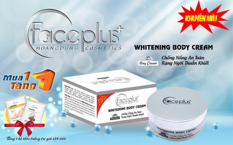 Kem dưỡng trắng da chống nắng toàn thân ban ngày SPF-50 FACE PLUS (250g) + Tặng 1 gói tắm trắng nhập khẩu