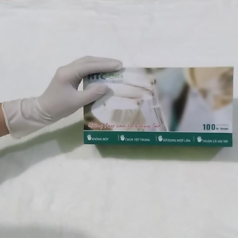 Găng Tay - bao tay - Cao Su y tế  KHÔNG BỘT HTC hộp 100 cái màu cao su tự nhiên