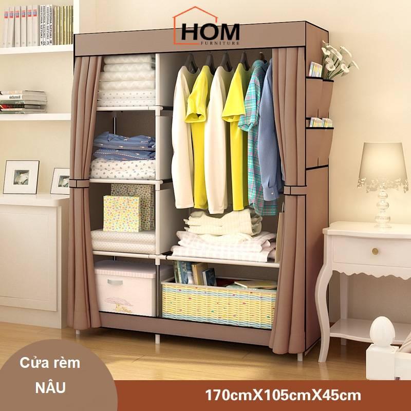Tủ vải đựng quần áo khung inox chắc chắn cửa rèm chống bụi, tủ vải 2 buồng 6 ngăn dễ lắp ráp diện tích lớn để được nhiều quần áo J0306