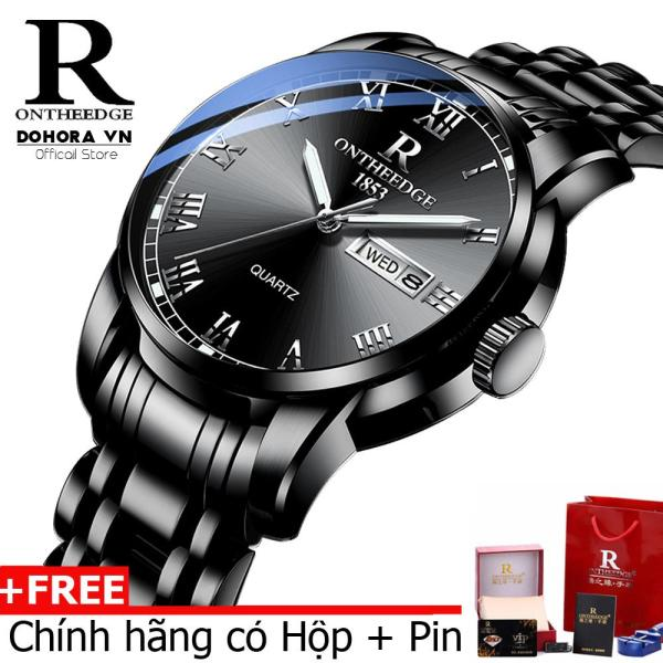 Nơi bán [Có video] Đồng hồ nam cao cấp Ontheedge R-13 dây thép đúc đặc không gỉ lịch thứ ngày vạn niên