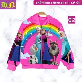Áo khoác bé gái hình Elsa và Anna xinh xắn từ 11-43kg-Thun da cá hút mồ hôi in 3D-Hương Nhiên thumbnail