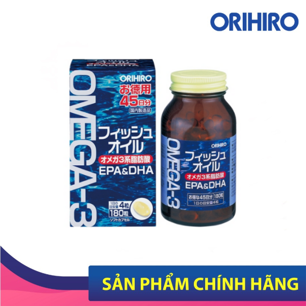 Viên Uống Dầu Cá Omega 3 Orihiro 180 Viên Phòng Ngừa Các Bệnh Tim Mạch, Phát Triển Não Bộ, Tăng Cường Trí Nhớ cao cấp