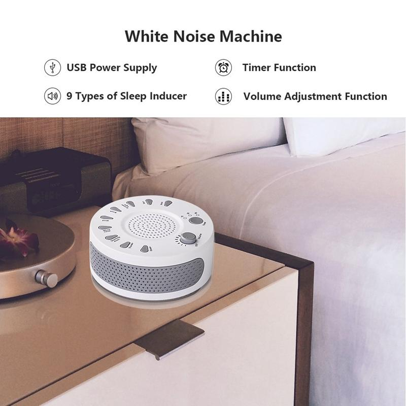 White Noise Machine Sleep Helper Sound Relaxation Machine Sleep Therapy Sound Machine with 9 Unique Natural Sounds,Sleep Disorders Noise Cancelling for Home,Office,Spa,Yoga.Kids