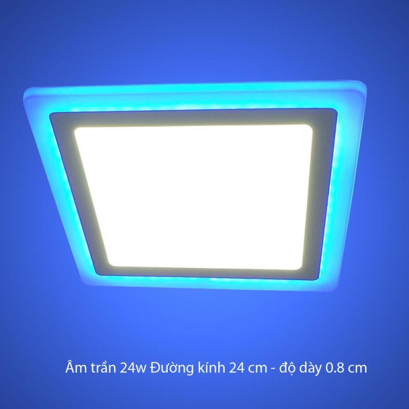 Đèn Led Âm trần 24w vuông 2 màu 3 chế độ ánh sáng  trắng xanh dương