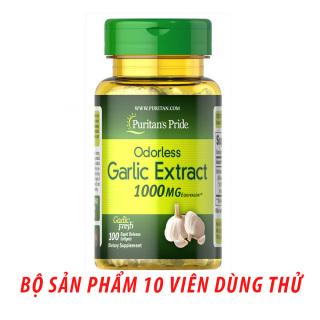 Dầu tỏi Garlic oil 1000mg của Mỹ tốt hơn 100 lần tinh dầu tỏi diep chi tăng cường hệ miễn dịch, phòng ngừa cảm cúm, giảm cholesterol, xơ vữa động mạch, Vitamin Mỹ Puritan s Pride 10 viên dùng thử thumbnail