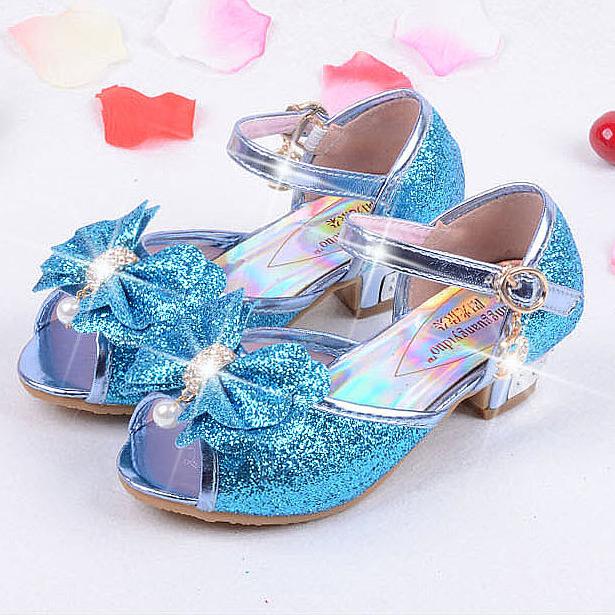 Giá bán Giày sandal cao gót bé gái kim sa lấp lánh kiểu dáng công chúa elsa xinh xắn phù hợp đi tiệc nhảy khiêu vũ biểu diễn thời trang SD58