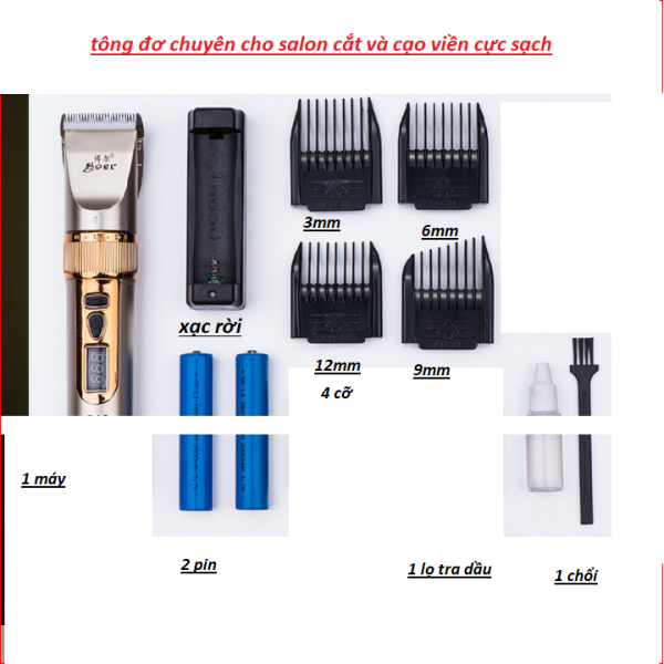 Tông Đơ Cắt Tóc Chuyên Nghiệp Cho salon . dùng cho gia đình BOER A10 2PIN . (Hàng Dùng Cho AE Salon ) cao cấp