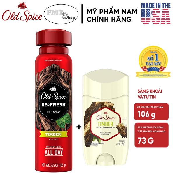 [USA] Combo Old Spice TIMBER gồm Lăn Sáp Khử Mùi 73g + Xịt Toàn Thân 106g Fresher Collection - Mỹ