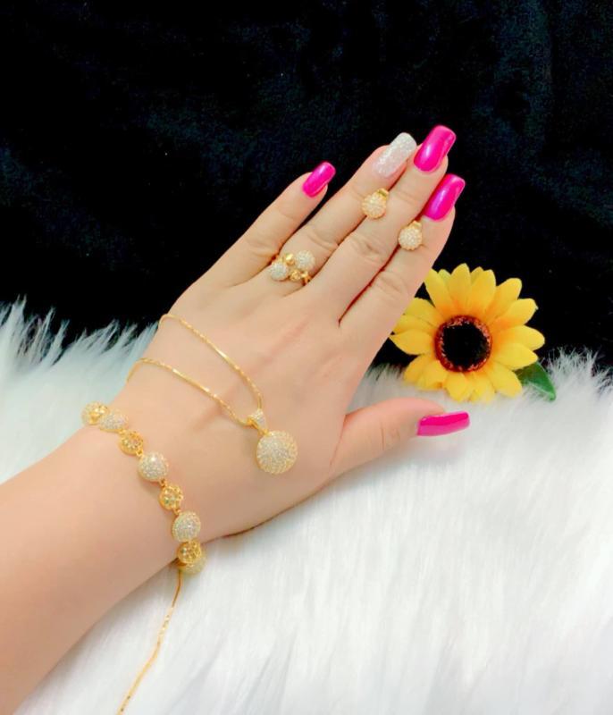 Bộ trang sức nữ mạ vàng 18k cao cấp Minshop VB417091901 - Đeo đi tiệc đi chơi cực sang trọng