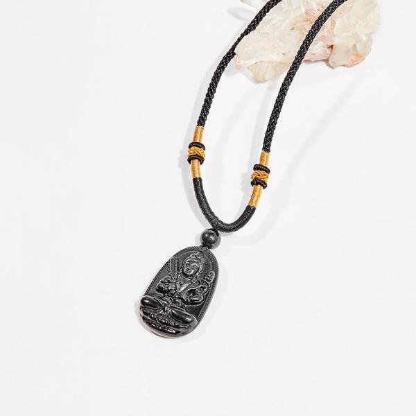 Mặt dây chuyền Phật bản mệnh đá obsidian Hư Không Tạng Bồ Tát tuổi Sửu , Dần 3.6 x 2.3cm (màu đen) - Ngọc Quý Gemstones