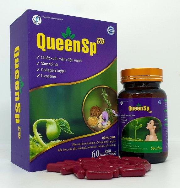 QueenSP - Viên uống bổ sung nội tiết tố, hỗ trợ săn chắc vòng 1, Ngăn ngừa quá trình lão hóa, giúp da trắng đẹp, khỏe mạnh ( Hộp 60 viên)