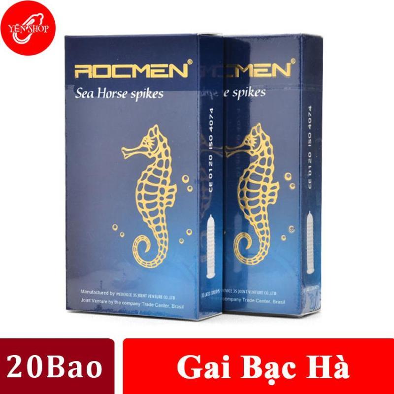 (20 BCS) Bao cao su gai kéo dài thời gian quan hệ hương bạc hà mát lạnh Rocmen cá ngựa xanh