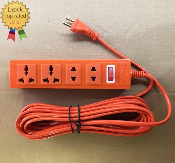 Ổ cắm điện kéo dài chịu nhiệt công suất 2200W NIVAL liền dây 4m 4 ổ cắm 1 công tắc