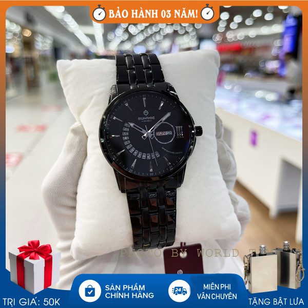 Đồng hồ nam, đồng hồ pin Sunrise 1130SA KW, full hộp, thẻ bảo hành hãng, kính Sapphire chống xước, chống nước, dây thép không gỉ 316L