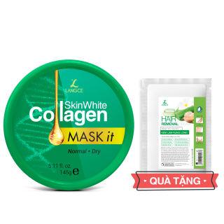 Mặt Nạ Dưỡng Trắng Collagen 145ml Da Khô - Tem Xanh TẶNG Kem Làm Rụng Lông Trắng Da 20ml LANGCE