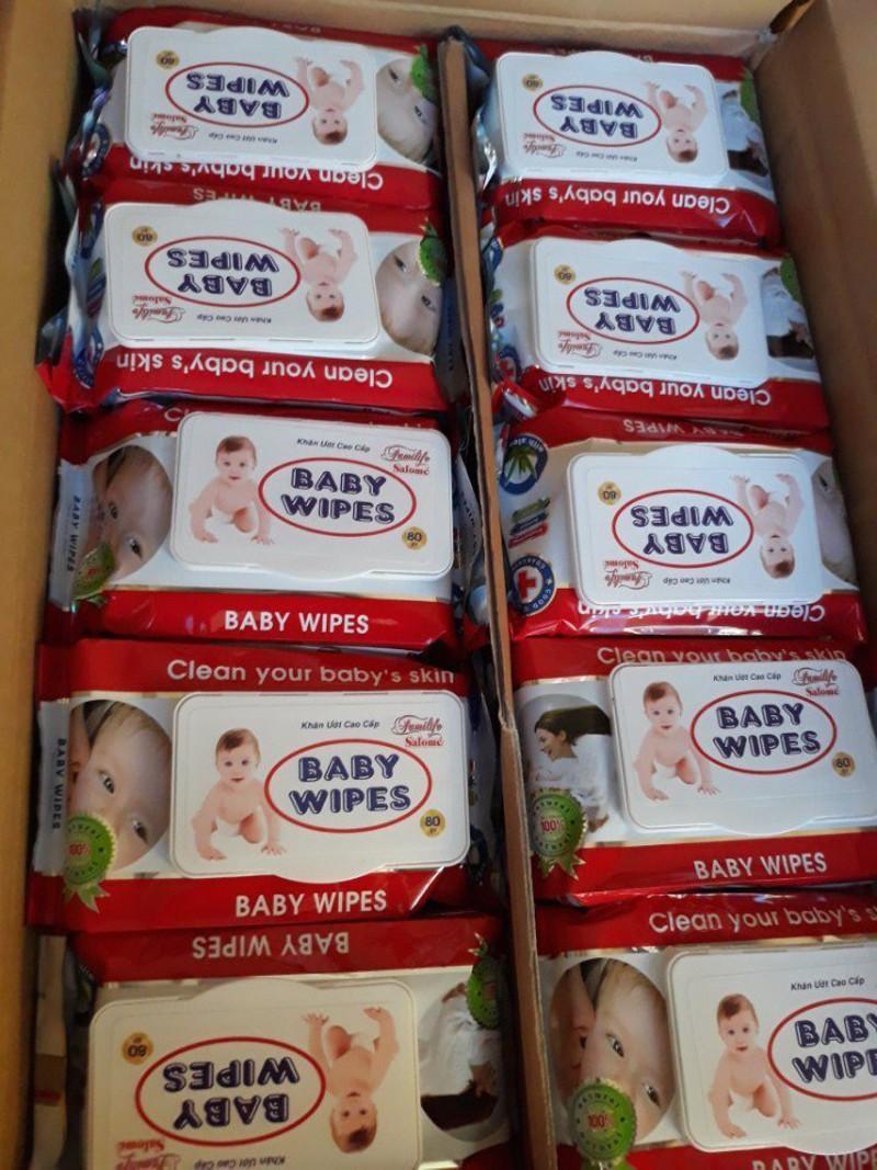 [Sale]Combo 10 Gói (Gói Lớn 80gr) Khăn Giấy Ướt Baby Wipes Có Nắp Đậy An Toàn, Cao Cấp Giá Siêu Rẻ