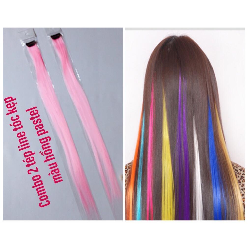 Combo 2 line tóc màu hồng pastel- mỗi tép 3d có từ 80-100 sợi- mua 5 line tặng 1 line cao cấp