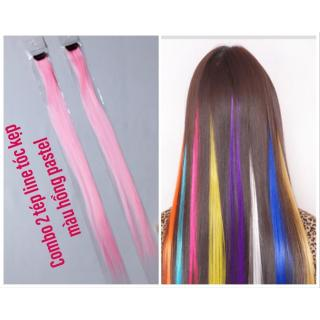 Combo 2 line tóc màu hồng pastel- mỗi tép 3d có từ 80-100 sợi- mua 5 line tặng 1 line thumbnail