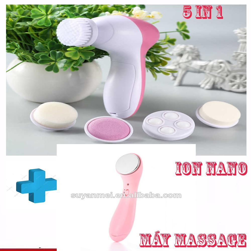 Máy Massage Da Mặt Ion 5In1 Mini Hàn Quốc không tốt bằng máy matxa mặt này, Máy rửa mặt massage 5 trong 1 (Mini).Tặng máy massage ion