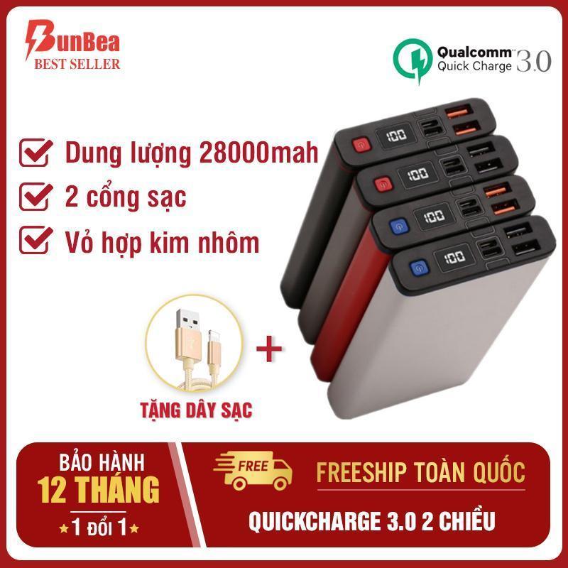 Giá Pin sạc dự phòng 28000mah - quickcharge 3.0 2 chiều max18W - đầu vào iphone/type-c - đầu ra 3A 2 cổng sạc - vỏ nhôm nguyên khối N1 B (BUNBEA)