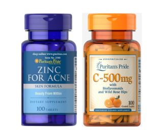 Combo kẽm trị mụn nhanh liền sẹo, mờ vết thâm Kem tri mun Zinc for Acne HSD tháng 07 2024 & Vitamin C 500mg Puritan s Pride HSD tháng 10 2022 thumbnail