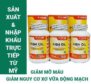 COMBO 3 HỘP DẦU CÁ VITAR FISH OIL 1000MG HỘP 100 VIÊN TPBVSK Bổ sung Omega-3, DHA và EPA Sản xuất và nhập khẩu từ Mỹ (USA) thumbnail