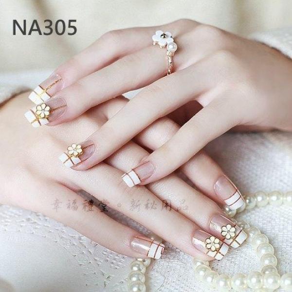 Hộp 24 Móng tay giả , nail giả , móng giả A65 (keo sẵn sau các ngón tay) nhập khẩu