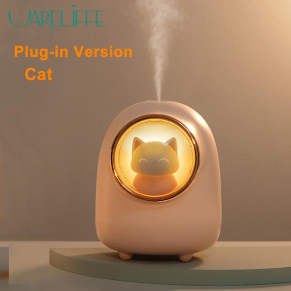 Uareliffe Máy phun sương tạo độ ẩm hình mèo con dễ thương có thể sạc lại bằng USB với màu sắc lãng mạn vào ban đêm dành cho văn phòng phòng ngủ