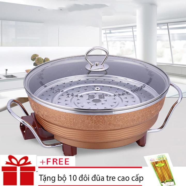 Noi Nau Lau Da Nang , Nồi Lẩu Kiêm Chảo Điện Đa Năng, Tiện Lợi Osaka - Chảo lẩu điện đa năng osaka - nồi lẩu kiêm nướng đa năng (Nâu) + Tặng 10 đôi đũa tre cao cấp