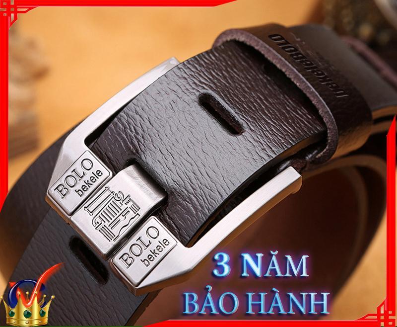 thắt lưng da dây nịt nam thắt lưng da doanh nhân thời trang cát viên 100% da bò nguyên tấm POLO HG2 Nhật Bản