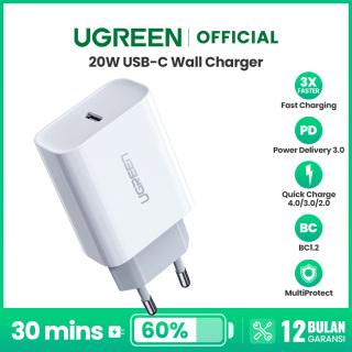 For iPhone 12 UGREEN 20W Power Delivery Fast Charger for iPhone 12 Pro max SAMSUNG Xiaomi Huawei VIVO OPPO thumbnail