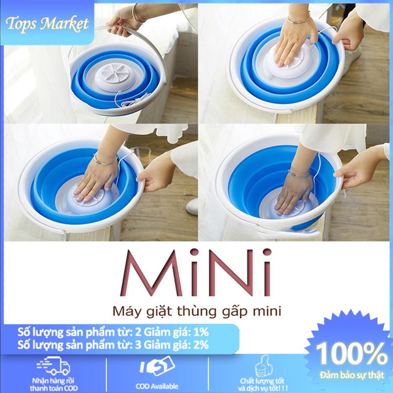 [HCM]Thùng giặt máy giặt mini có thể gấp gọn tua bin xoáy tiếng ồn thấp máy giặt cỡ nhỏ mini Tops Market