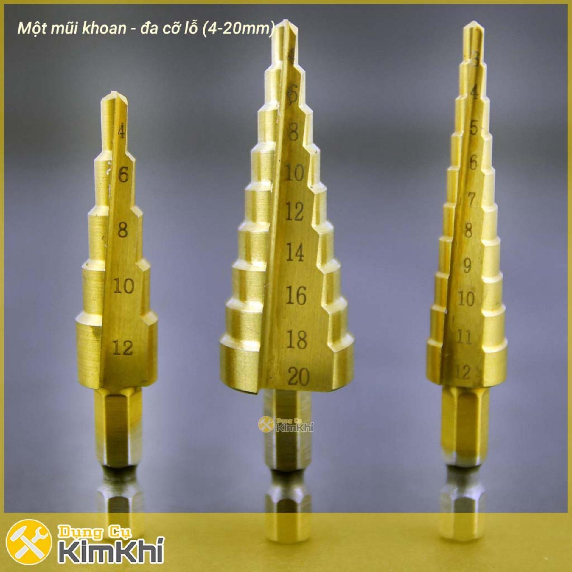 Bộ 3 Mũi Khoan Bước Tháp Titanium 3-20 Mm Khoan Sắt, Tôn, Nhôm-MK3.162 - Qmart Giá Giảm