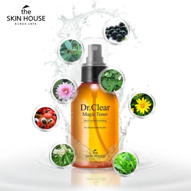 Nước Hoa Hồng Giúp Giảm Mụn Ngăn Ngừa Mụn ĐIều Trị Mụn Cho Da Dầu DR. CLEAR MAGIC TONER The Skin House - 130ml