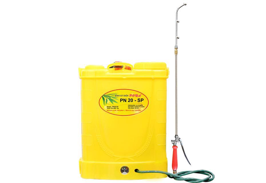 Bình xịt nước tưới cây bằng điện mini Pona PN 20SP, đeo vai Dung tích 20L, Ác quy 12V/12AH, Bơm 100 PSI, sử dụng van khoá
