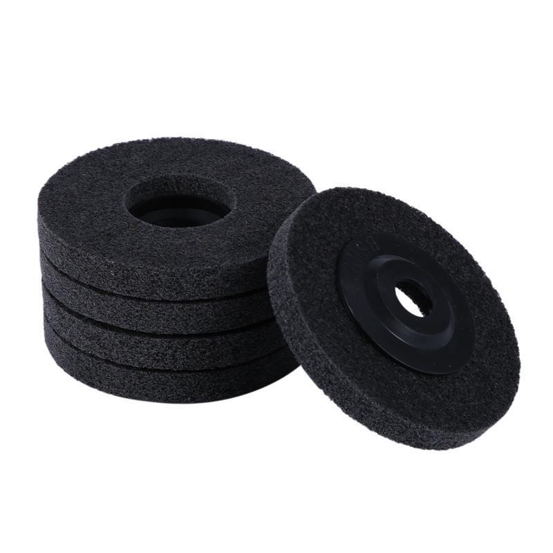 5Pcs 4 Inch Nylon Fiber Polishing Wheel Non Woven Abrasive Flap Disc Grinding Polishing Wheel for Metal Ceramics Marble Wood Craft Polishing