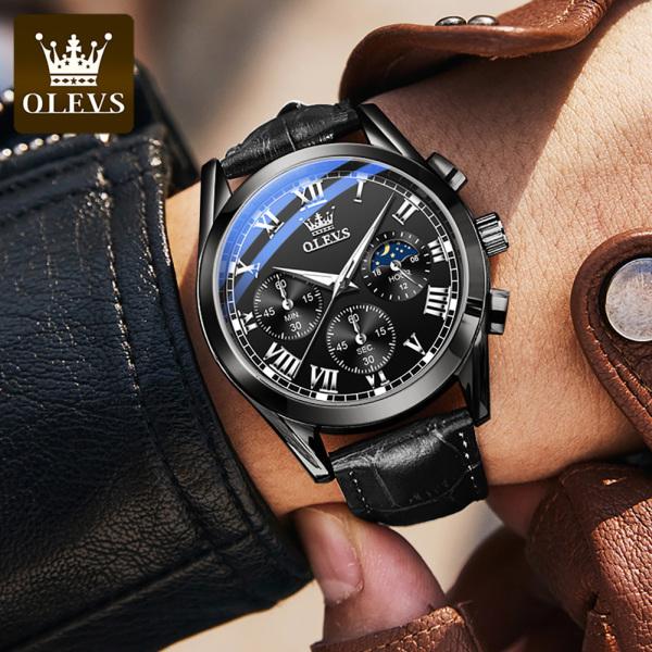 Đồng hồ thạch anh OLEVS cao cấp dành cho nam doanh nhân chất liệu chống nước dây da thời trang
