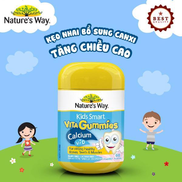 Natures Way Kids Smart Vita Gummies Calcium Vit D - Viên kẹo nhai bổ sung canxi tăng chiều cao nhập khẩu